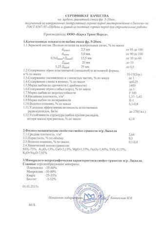 Сертификат качества щебня гранитного